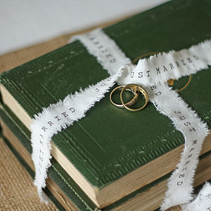 Just Married Wedding Ribbon Frayed Edges 4m - diy stationery