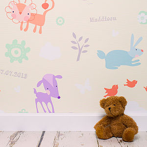 Personalised Little Lion Wallpaper - children's room
