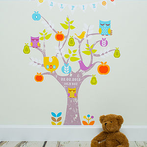 Personalised Tree And Bunting Wallpaper - wallpaper