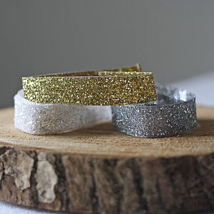 Glitter Ribbon, Gold, Silver, White - ribbon & wrap