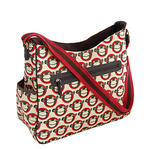 Red Monkey Baby Changing Bag