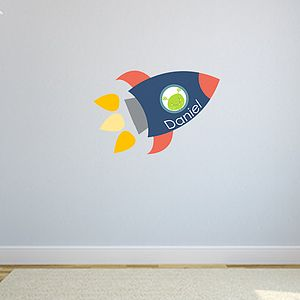 Alien Rocket Name Fabric Wall Stickers - children's room