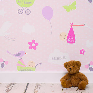 Personalised Flying Stalk Wallpaper - children's room