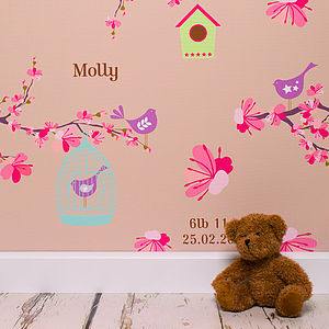 Personalised Bird Cage Wallpaper - children's room