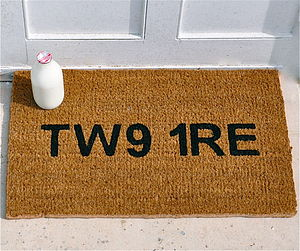 Personalised Postcode Door Mat - housewarming gifts