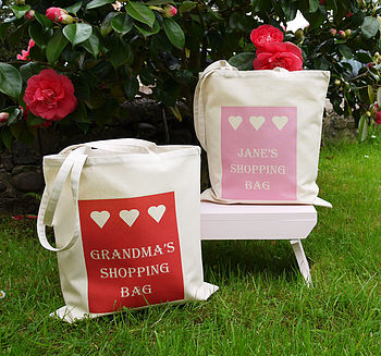 Personalised 'Hearts' Shopping Bag
