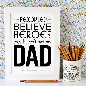 Personalised My Hero Dad Print - canvas prints & art for children