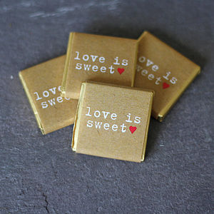 Chocolate Wedding Favours Love Is Sweet X 20 - edible favours