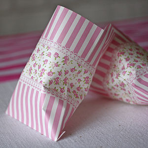 Pink Floral Paper Bags Pack Of 25