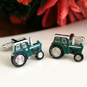 Tractor Cufflinks In Green - cufflinks