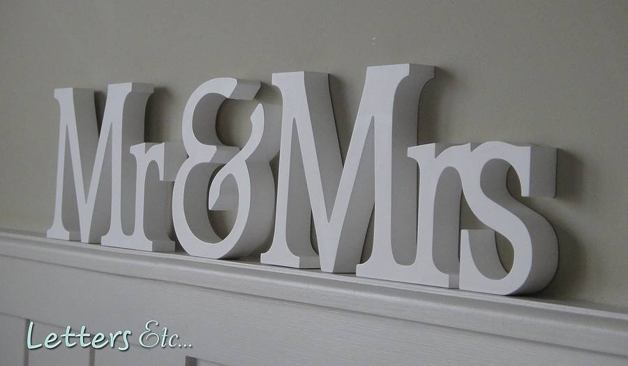 personalised 'mr & mrs' wooden name letters by letters etc ...