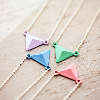 Colourful Pastel Triangle Pendant Necklace