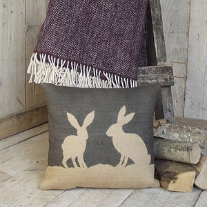 ' Country Hare ' Cushion And Plum Tweed Throw