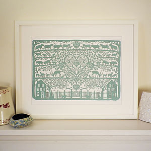Personalised Family Tree Country Heart Print