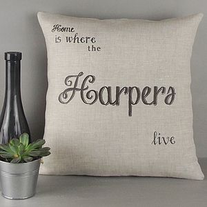 ' Home Is Where … ' Personalised Cushion - decorative accessories