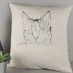 ' Cat ' Linen Cushion