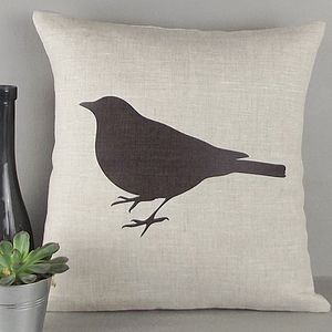 ' Blackbird ' Irish Linen Cushion