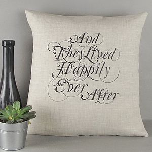 ' Happily Ever After ' Linen Cushion - engagement gifts