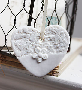 White Porcelain Lace Heart Decoration