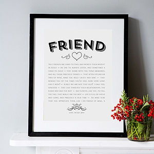 Modern Style Friendship Poem Art Print - gifts for her
