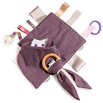 Unisex Bib, Organic Teether And Comforter Gift Set