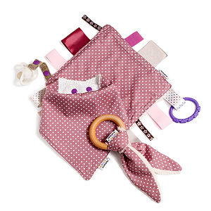 Girl's Bib, Organic Teether And Comforter Gift Set - blankets, comforters & throws