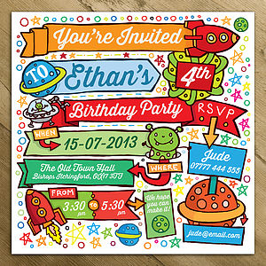 Rocket Childrens Party Invitations - children's parties