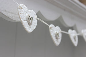 Porcelain Lace Butterfly Heart Bunting