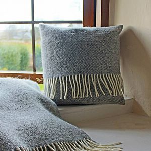 Grey Woven Wool Cushion - plain cushions