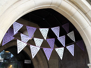 Purple, Lilac And Ivory Lace Wedding Bunting - bunting & garlands