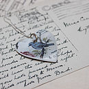 Porcelain Blue Bird Heart Pendant