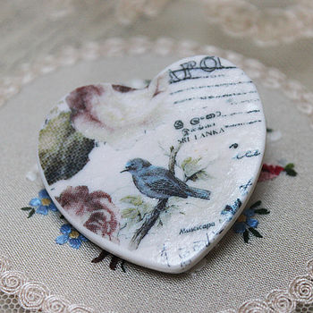 Porcelain Blue Bird Brooch