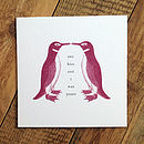 Penguin Love Card; 'One Kiss And I Was Yours'