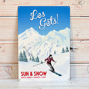 Personalised Retro Ski Sign