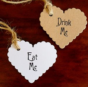 Five Pack 'Eat Me' Or 'Drink Me' Heart Tags - table decorations