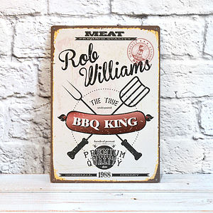 Personalised Retro Bbq King Sign - art & decorations