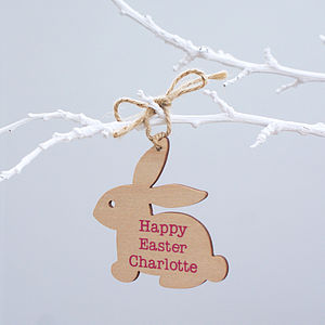 Personalised Wooden Easter Bunny Decoration - for children