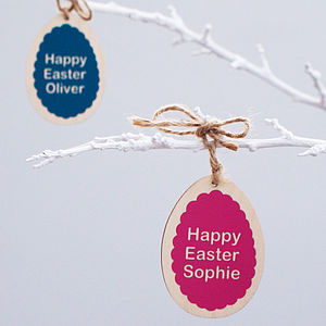 Personalised Wooden Easter Egg Decoration - easter home