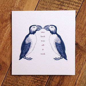 Puffin Love Card; One Look Was All It Took - anniversary cards