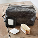 donkey brown rugged leather mens wash bag