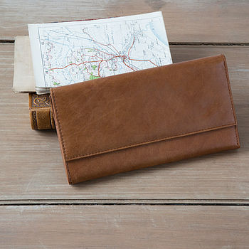 tan rugged leather travel wallet