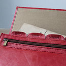 red rugged leather travel wallet