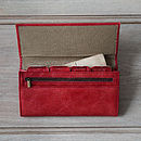 red rugged leather travel and document wallet