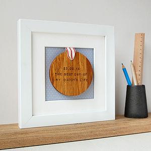 Personalised Framed Wooden 'Best Day' Medal