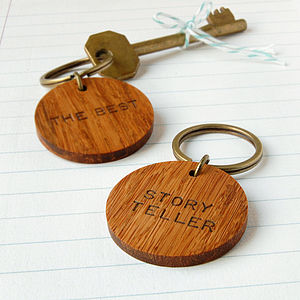 Personalised 'The Best' Wooden Circle Keyring