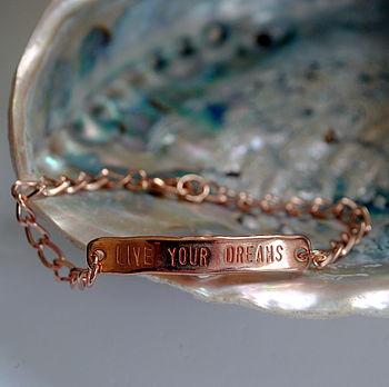 Live Your Dreams Rose Gold Chain Bracelet