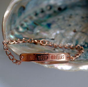 Live Your Dreams Rose Gold Bracelet - men's jewellery