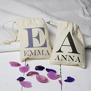 Personalised Initial And Name Mini Gift Bag - wedding favours
