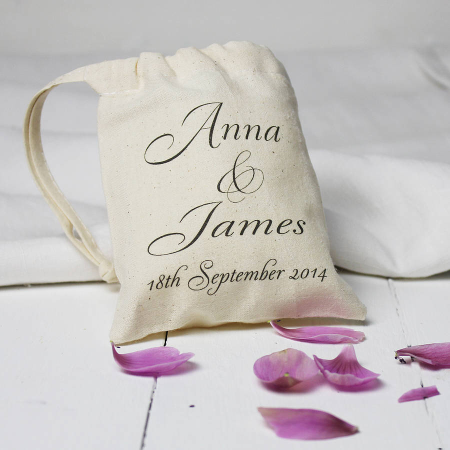 Wedding Date Gift: Personalised Wedding Date Mini Gift Bag By Snapdragon