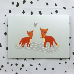 Fox Love Greeting Card - engagement cards